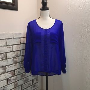 Charlotte Russe Royal Blue See Through Blouse